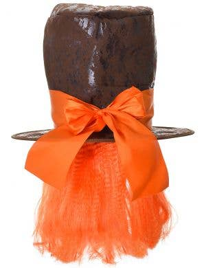 Mad Hatter Alice in Wonderland Hat with Orange Wig Accessory
