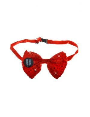 Light up Adults Red Sequined Bow Tie Costume Accessory