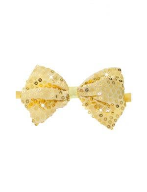 Sequined Gold Light Up Costume Bow Tie Front View