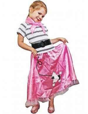 1950's Girls Pink Poodle Skirt Retro Fancy Dress Front View
