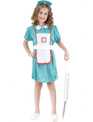 Girls Nurse Fancy Dress Costume Front View