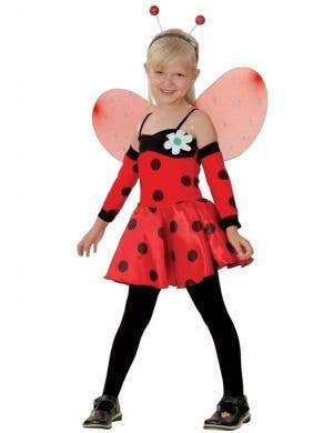 Cute Red and Black Ladybug Girls Costume Front View