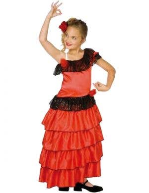 Girls' Red Flamenco Spanish Dancer Book Week Costume Front