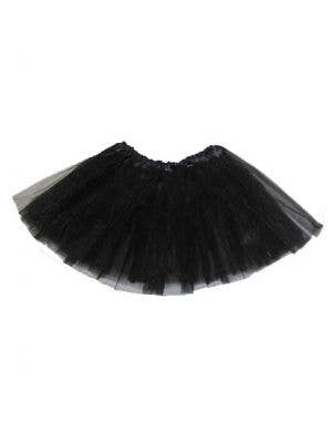Black Net Girl's Layered Costume Petticoat Front View
