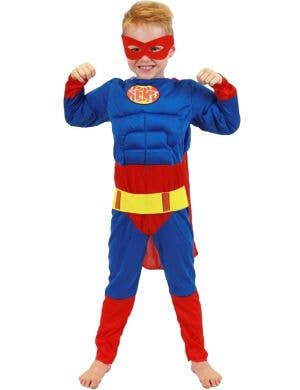 Muscle Chest Boys Superman Costume Front View