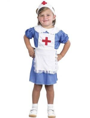 Girls Vintage Nurse Toddler Costume Front View