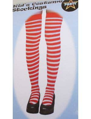 Girls Thigh High Red and White Striped Stockings Main Image