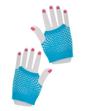 80's Short Blue Fishnet Gloves Costume Accessory