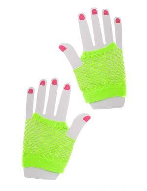 Fishnet Neon Green Party Gloves Costume Accessory