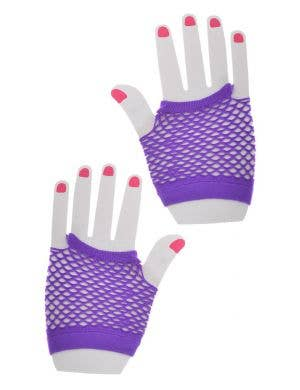 Fishnet Purple Party Gloves Costume Accessory