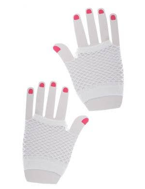 Fishnet White Party Gloves Costume Accessory