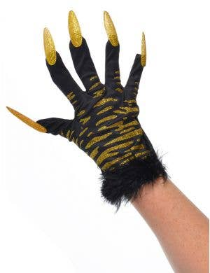 Black and Gold Tiger Print Gloves with Claws Front View