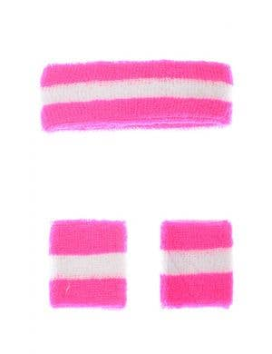 1980's Hot Pink and White Sweat Band Set Costume Accessory