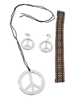 Hippie Silver Peace Sign Costume Accessory Set
