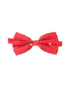 Red Satin Bow Tie with Sequins Close Up Image