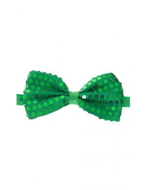 Green Satin Bow tie with Sequins Close Up Image