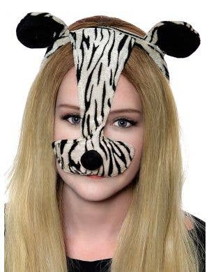 Striped Zebra Ears and Nose Costume Headband