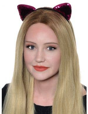 Sequinned Pink Cat Ears Headband Costume Accessory