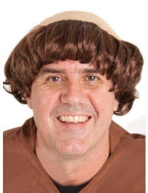 Catholic Monk Men's Bald Top Brown Costume Wig