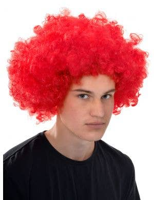 Afro Fluro Red Curly Adults Clown Costume Wig