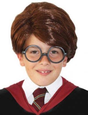 Boy's Harry Potter Short Brown Wizard Wig Front View