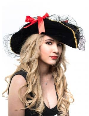 Women's Black Velvet and Lace Pirate Costume Hat