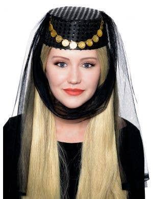 Harem Women's Veiled Black Pill Box Costume Hat