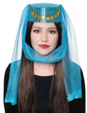 Harem Women's Blue Veiled Pill Box Costume Hat