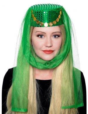 Harem Women's Veiled Green Pill Box Costume Hat