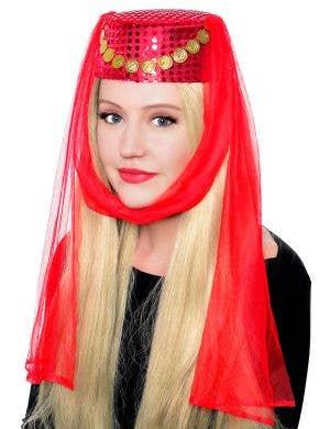 Harem Women's Red Pill Box Veiled Costume Hat