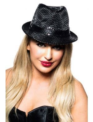 Sequined Fedora Costume Accessory Hat in Black