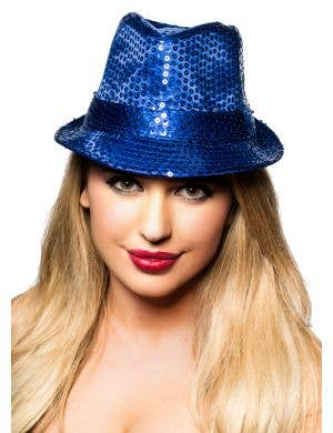 Sequined Dark Blue Fedora Costume Hat