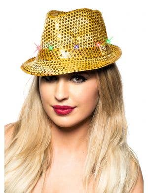 Light Up Sequined Fedora Hat - Gold