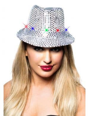 Light Up Sequined Fedora Costume Hat - Silver
