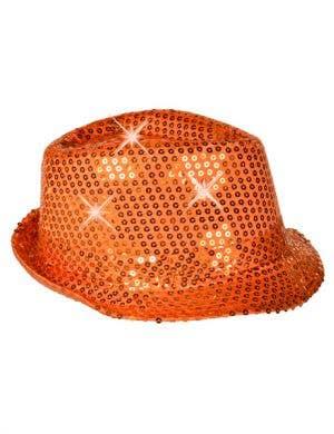 Light-Up Orange Sequin Fedora Gangster Hat