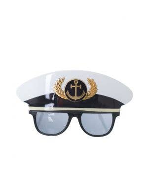 Adult's Black, White And Gold Sailor Navy Officer Costume Glasses With Attached Plastic Hat Main Image