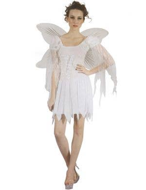 Women's White Christmas Angel Fancy Dress Costume