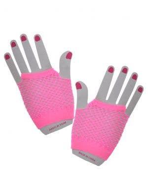 80's Neon Pink Fishnet Fingerless Costume Gloves