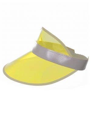 80's Neon Yellow Party Visor Costume Cap