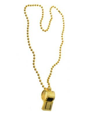 Referee Gold Whistle Necklace Costume Accessory