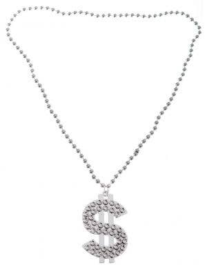 Silver Dollar Sign Bling Gangster Costume Necklace