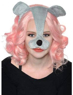 Plush Grey Mouse Ears and Nose Headband