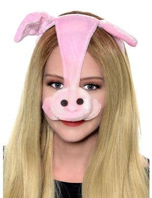 Plush Pink Pig Ears and Nose Costume Headband