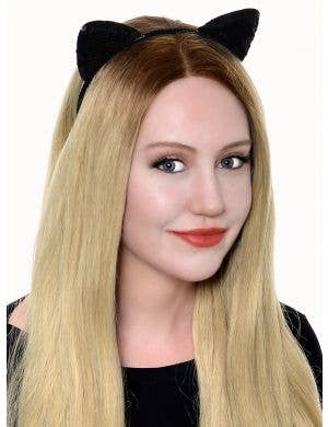 Sequinned Black Cat Ears Headband Costume Accessory