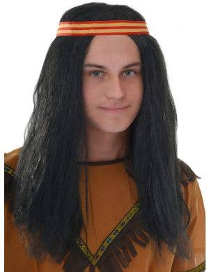 Native American Men's Long Black Costume Wig