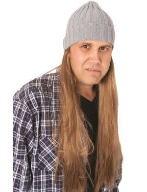 Bogan Wig and Grey Beanie Costume Accessory Front View