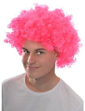 Adults Neon Pink Curly Afro Wig Clown Costume Accessory