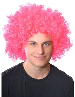 Adults Fluro Pink Curly Afro Wig Clown Costume Accessory