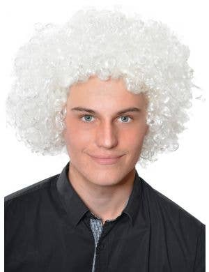 Afro Fluro White Curly Adults Clown Costume Wig