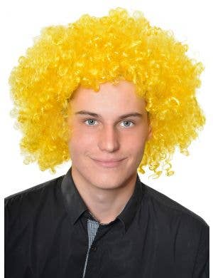 Afro Fluro Yellow Curly Adults Clown Costume Wig